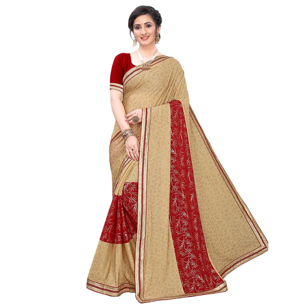 Delightful Beige-Red Colored Party Wear Foil Printed Lycra Blend Saree