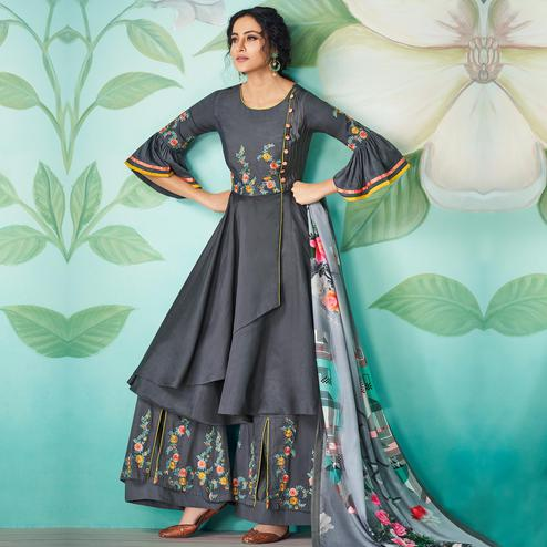 Trendy Black Colored Party Wear Floral Embroidered Muslin Cotton Kurti-Palazzo Set With Dupatta