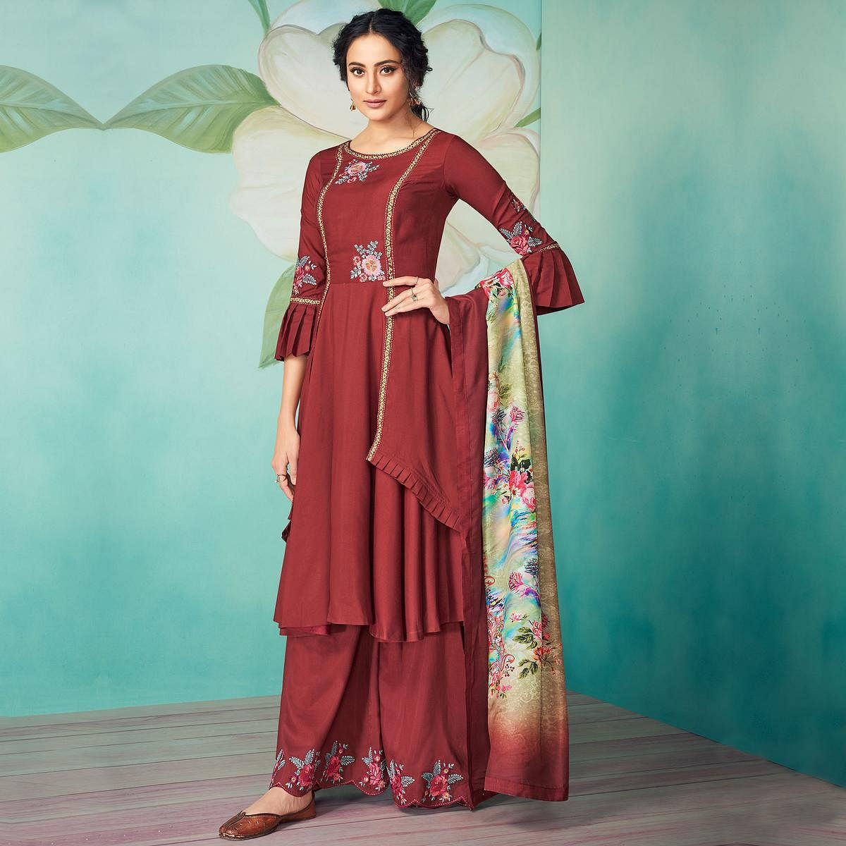 Elegant Maroon Colored Party Wear Floral Embroidered Muslin Cotton Kurti-Palazzo Set With Dupatta
