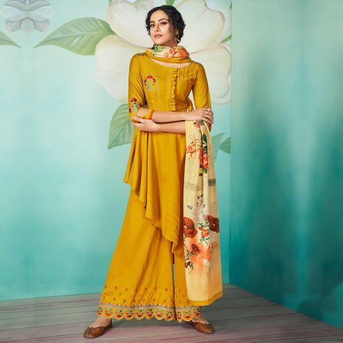 Glowing Opulent Mustard Yellow Colored Party Wear Floral Embroidered Muslin Cotton Kurti-Palazzo Set With Dupatta