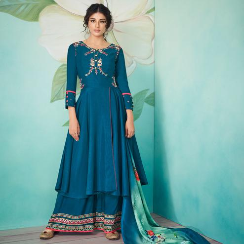 Exceptional Blue Colored Party Wear Floral Embroidered Muslin Cotton Kurti-Palazzo Set With Dupatta