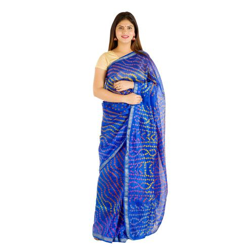 Pooja Fashion - Blue Colored Festive Wear Bandhani Print Art Silk Saree