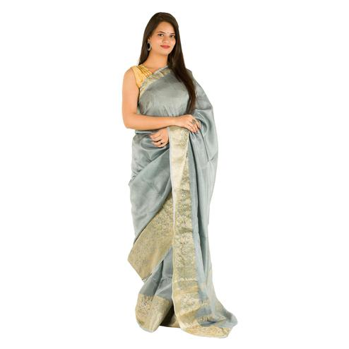 Pooja Fashion - Grey Colored Festive Wear Heavy Zari Woven Border Silk Saree