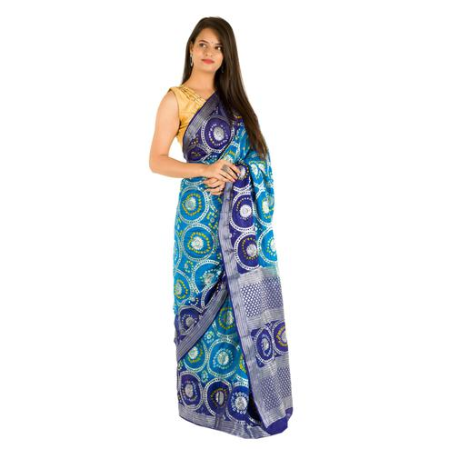 Pooja Fashion - Sky Blue Colored Festive Wear Heavy Zari Woven Art Silk Saree