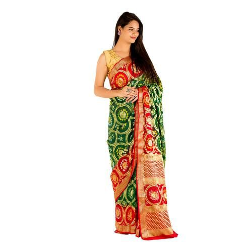 Pooja Fashion - Dark Green Colored Festive Wear Heavy Zari Woven Art Silk Saree