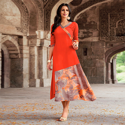 Flamboyant Orange Designer Printed Rayon Kurti
