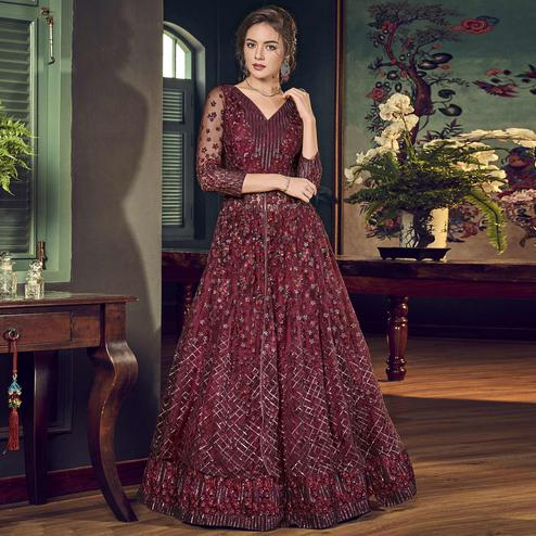 Gorgeous Maroon Colored Partywear Embroidered Net Anarkali Suit