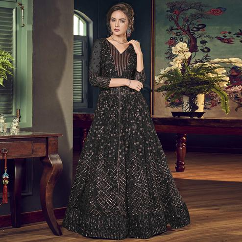 Blissful Black Colored Partywear Embroidered Net Anarkali Suit