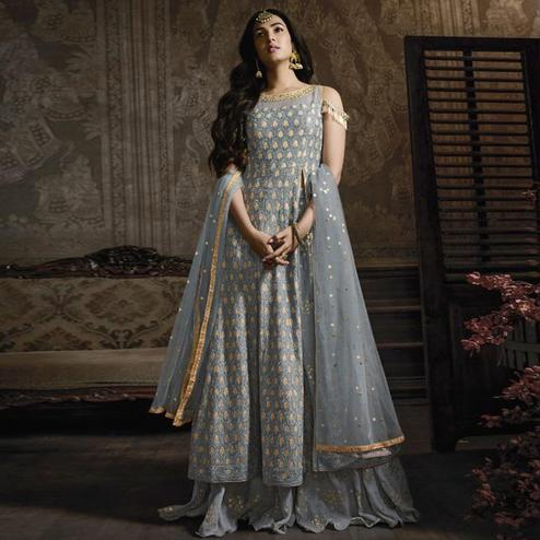 Ideal Grey Colored Partywear Embroidered Faux Georgette Lehenga Kameez