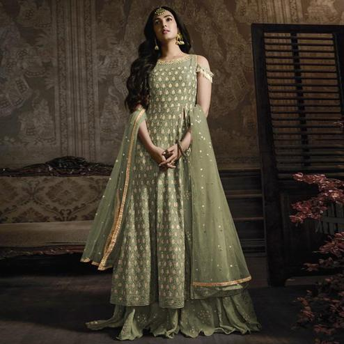 Imposing Pastel Green Colored Partywear Embroidered Faux Georgette Lehenga Kameez