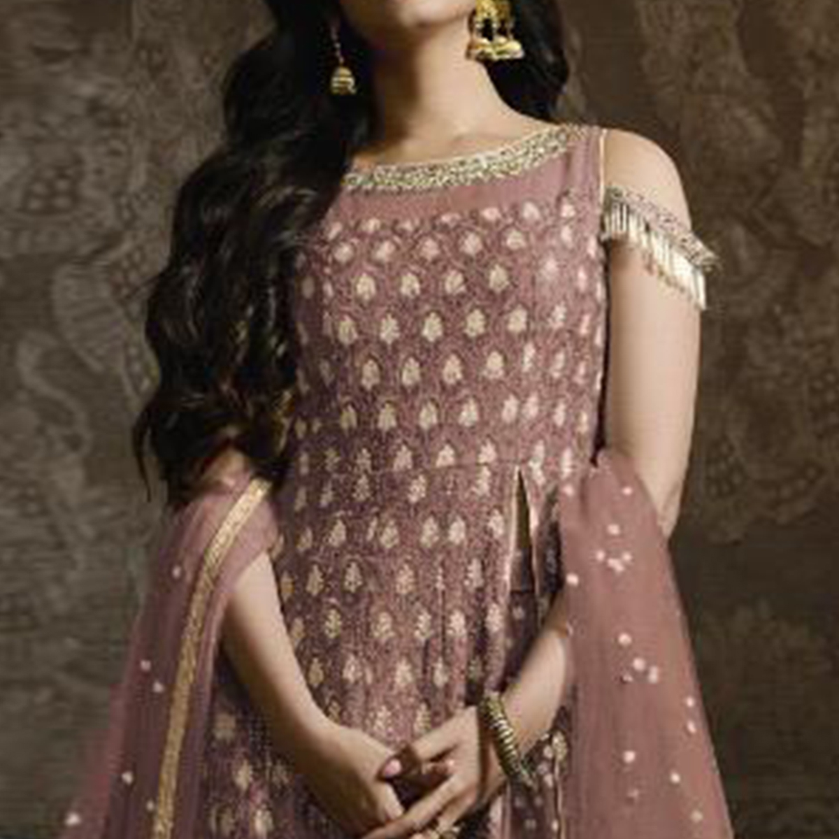 Lovely Mauve Colored Partywear Embroidered Faux Georgette Lehenga Kameez