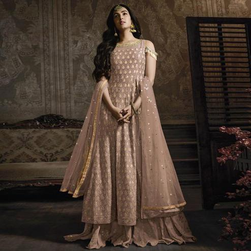 Impressive Beige Colored Partywear Embroidered Faux Georgette Lehenga Kameez