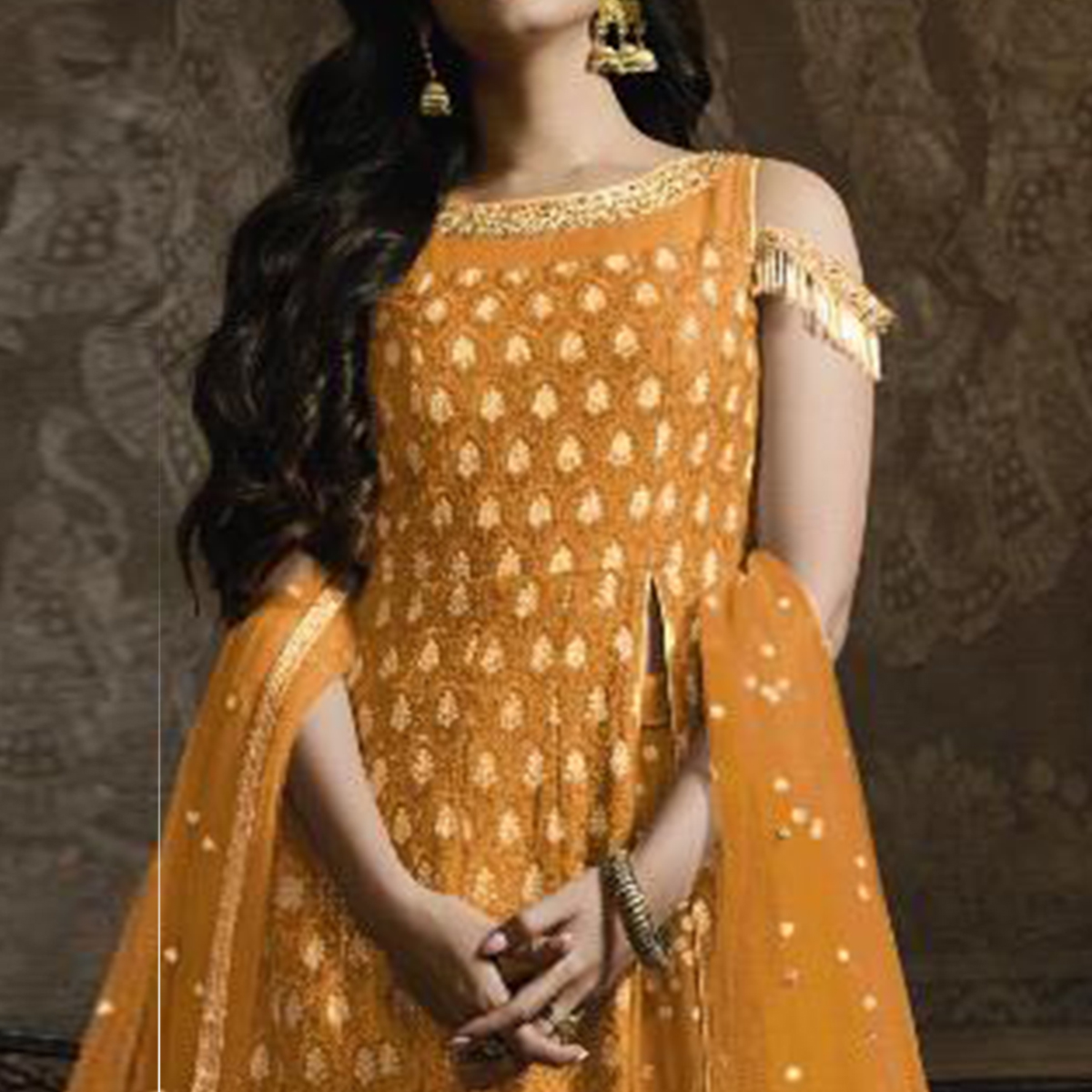 Mesmerising Yellow Colored Partywear Embroidered Faux Georgette Lehenga Kameez