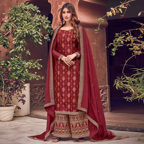 Breathtaking Rani Colored Partywear Embroidered Pure Dola Jacquard Palazzo Suit