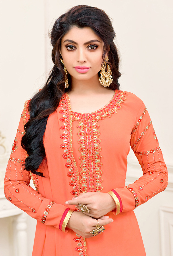 Orange Georgette Straight Cut Suit