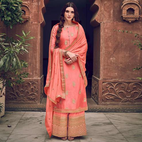 Exotic Peach Colored Partywear Embroidered Pure Dola Jacquard Palazzo Suit