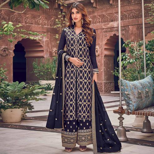 Sophisticated Navy Blue Colored Partywear Embroidered Pure Dola Jacquard Palazzo Suit