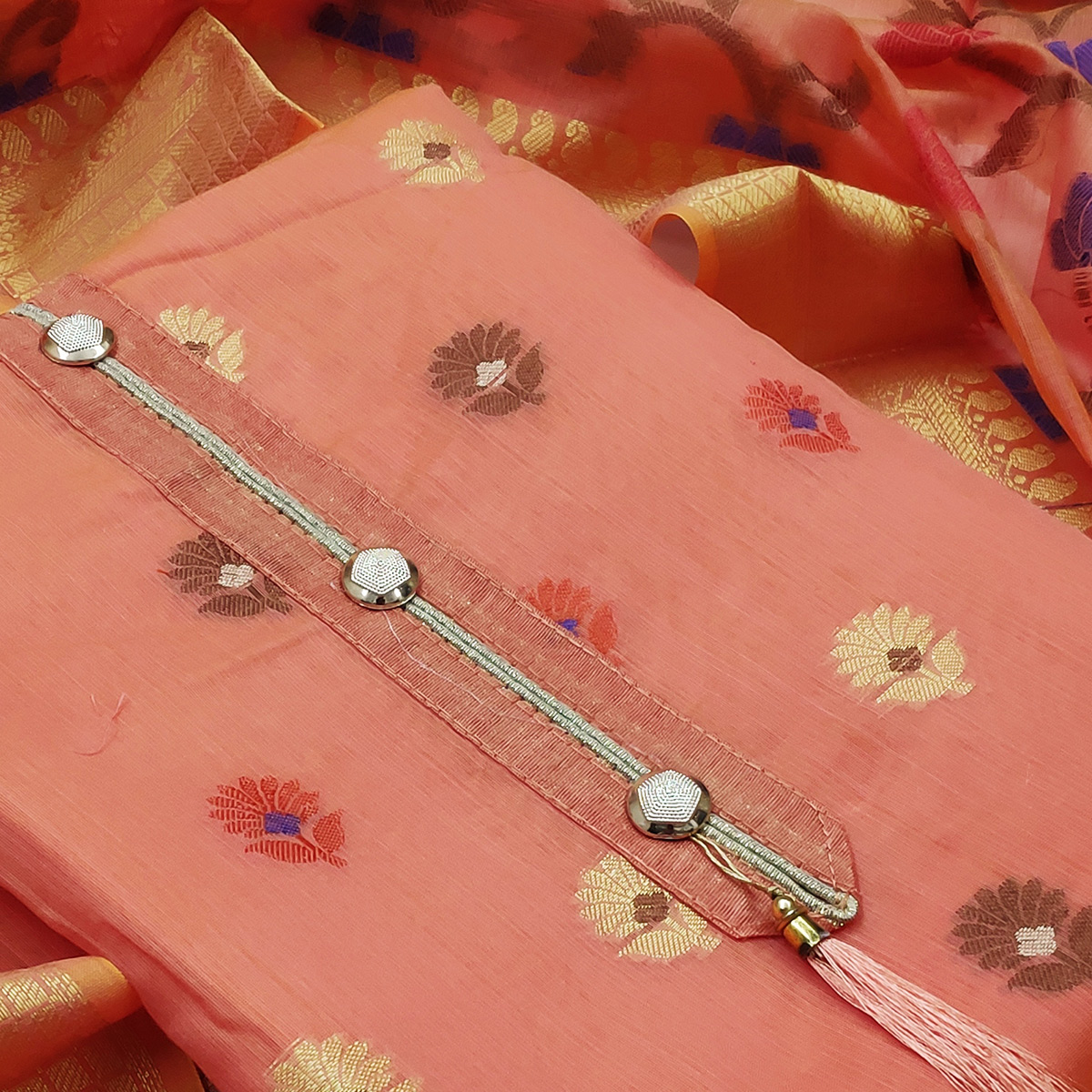 Exceptional Peach Colored Festive Wear Woven Heavy Banarasi Silk Dress Material