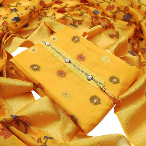Gleaming Yellow Colored Festive Wear Woven Heavy Banarasi Silk Dress Material