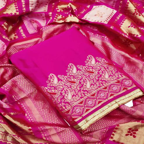 Mesmeric Dark Pink Colored Festive Wear Woven Heavy Banarasi Silk Dress Material