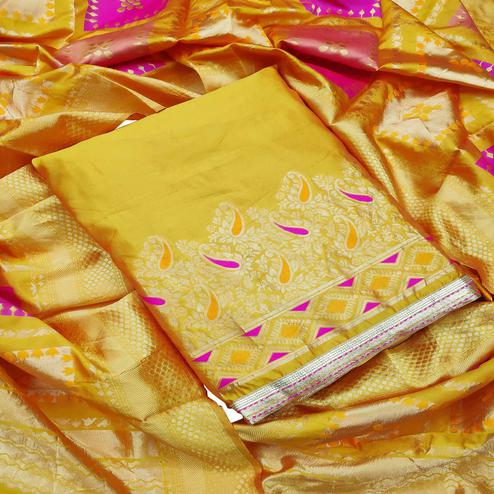 Refreshing Yellow Colored Festive Wear Woven Heavy Banarasi Silk Dress Material