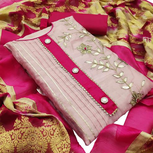 Flattering Light Pink Colored Partywear Embroidered Modal Silk Dress Material