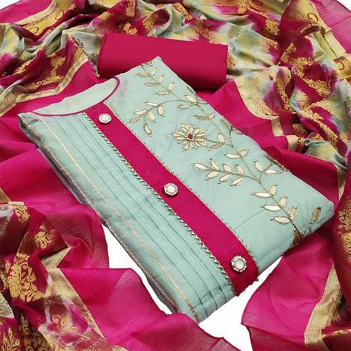 Preferable Light Blue Colored Partywear Embroidered Modal Silk Dress Material
