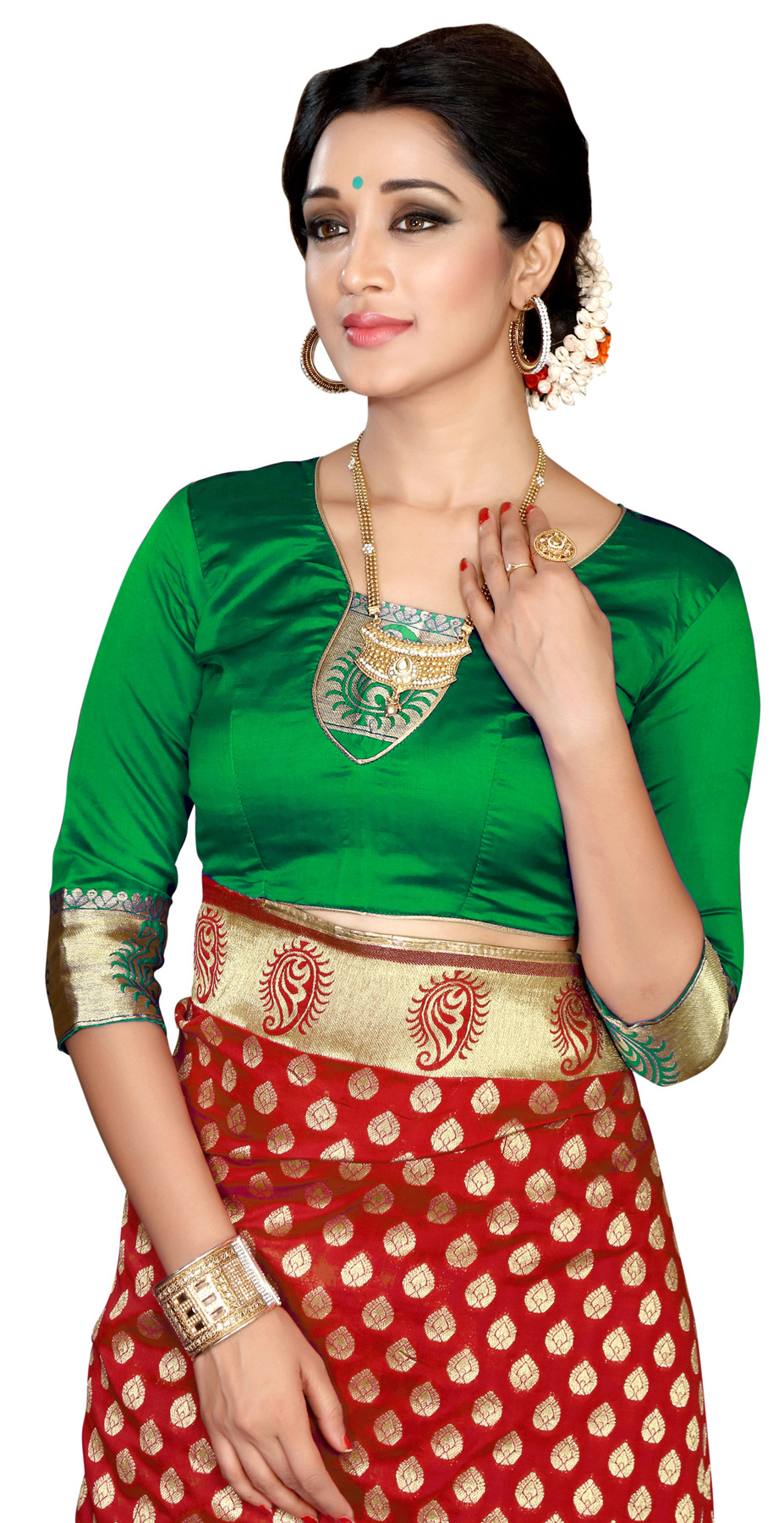 Green-Red Designer Festive Wear Banarasi Silk Saree