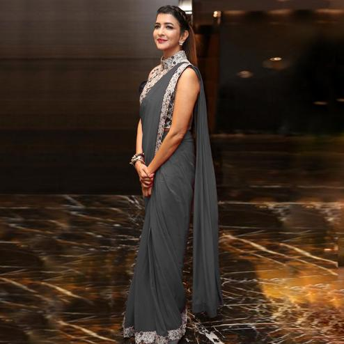 Classy Grey Colored Party Wear Embroidered Georgette Saree