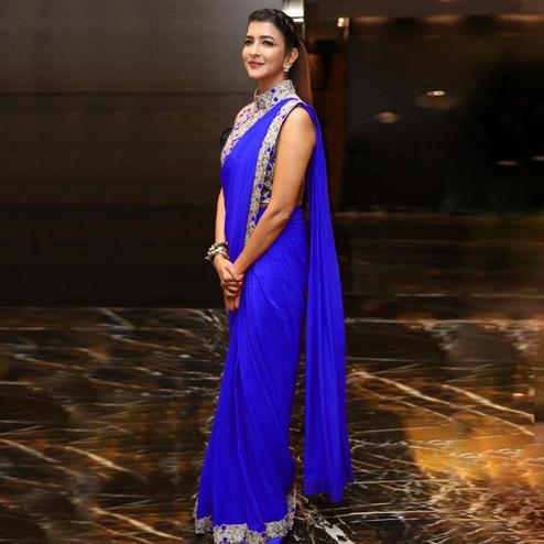 Prominent Royal Blue Colored Party Wear Embroidered Georgette Saree