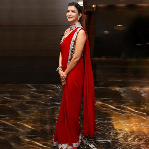 Capricious Maroon Colored Party Wear Embroidered Georgette Saree