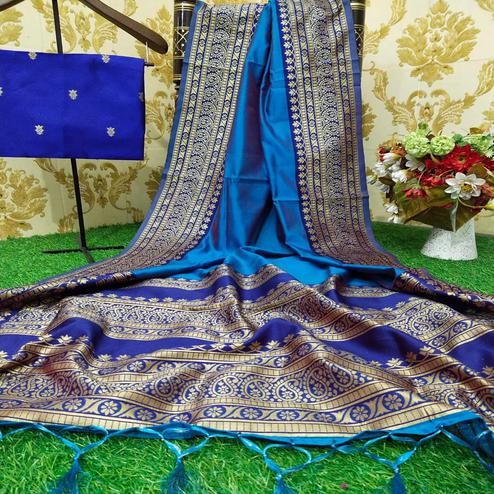 Beautiful Turquoise Blue Colored Festive Wear Woven Soft Lichi Silk Saree