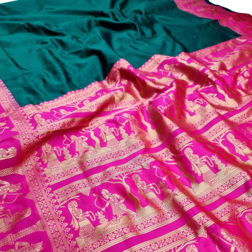 Graceful Dark Green Colored Festive Wear Woven Pure Heavy Banarasi Silk Saree