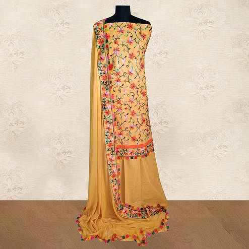 IRIS - Mustard Colored Casual Chainstitch Embroidered Work Cotton Dress Material