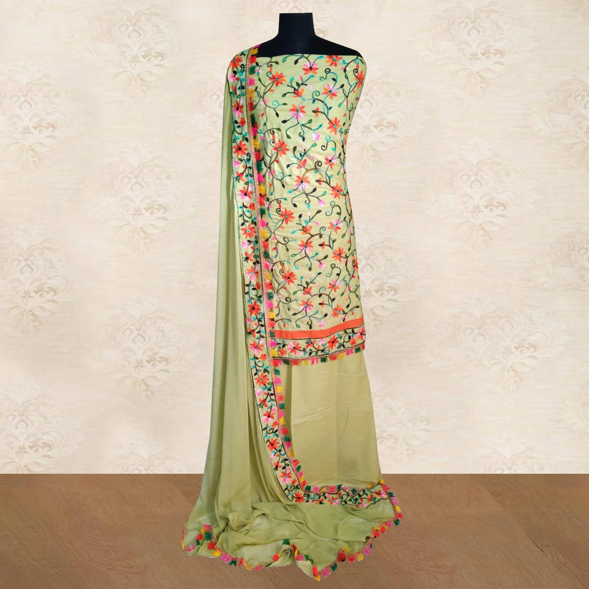 IRIS - Green Colored Casual Chainstitch Embroidered Work Cotton Dress Material