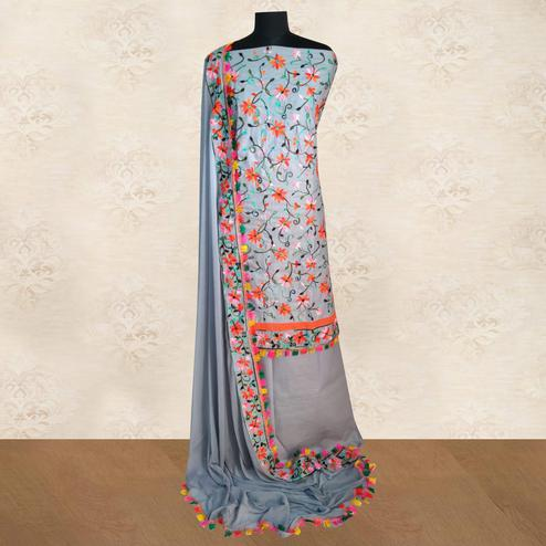 IRIS - Grey Colored Casual Chainstitch Embroidered Work Cotton Dress Material
