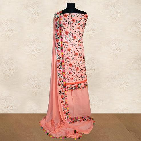 IRIS - Peach Colored Casual Chainstitch Embroidered Work Cotton Dress Material