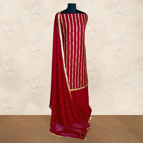 IRIS - Maroon Colored Partywear Gotapatti Embroidered Work Cotton Dress Material