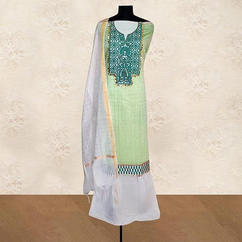 IRIS - Light Green Colored Casual Embroidered Work Chanderi Silk Dress Material
