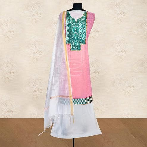 IRIS - Pink Colored Casual Embroidered Work Chanderi Silk Dress Material