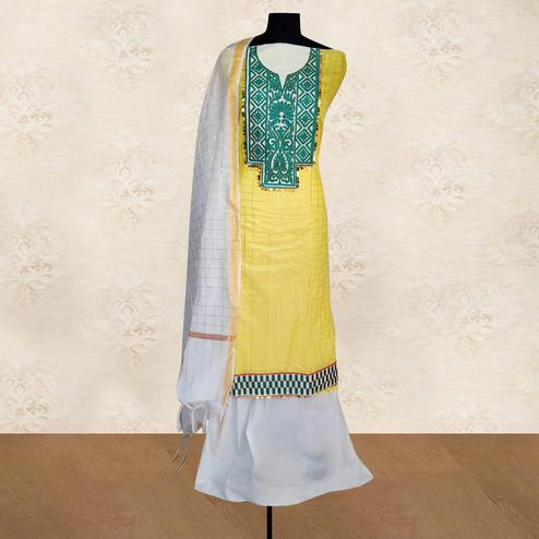IRIS - Yellow Colored Casual Embroidered Work Chanderi Silk Dress Material