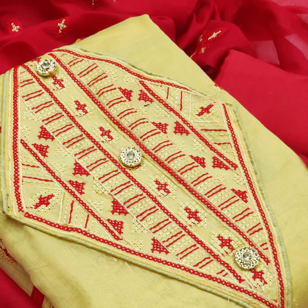 IRIS - Light Yellow Colored Casual Embroidered Work Chanderi Modal Dress Material