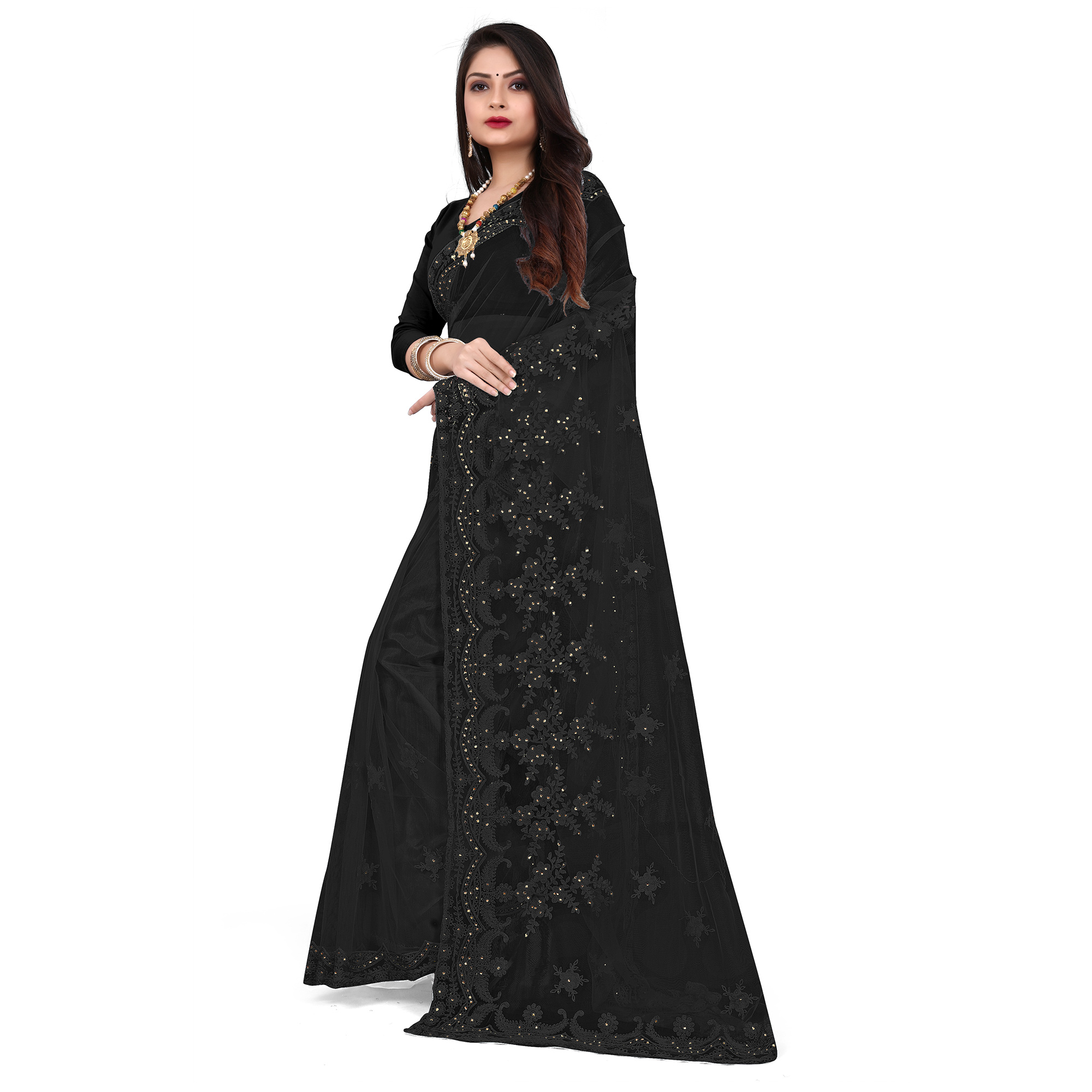 IRIS - Black Colored Partywear Embroidered & Stone Work Netted Saree