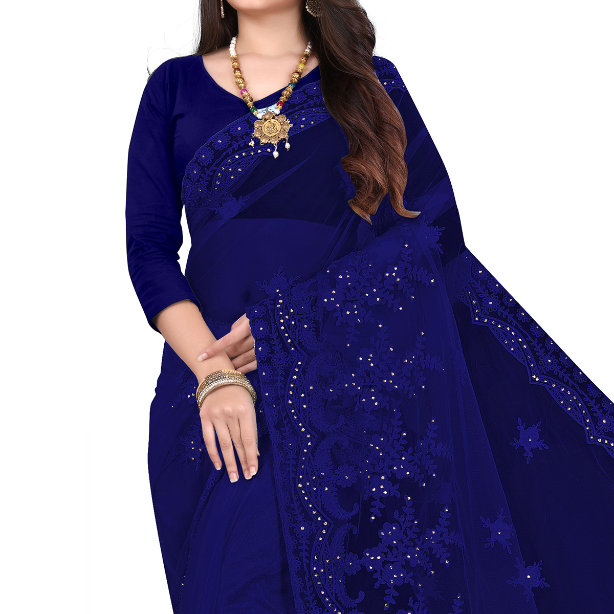 IRIS - Blue Colored Partywear Embroidered & Stone Work Netted Saree