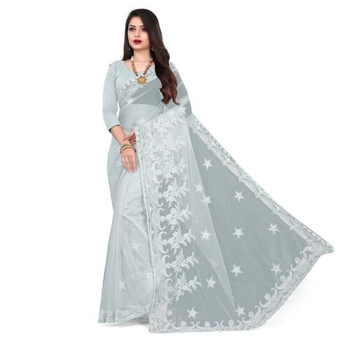 IRIS - Grey Colored Partywear Embroidered & Stone Work Netted Saree