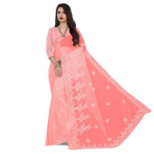IRIS - Peach Colored Partywear Embroidered & Stone Work Netted Saree