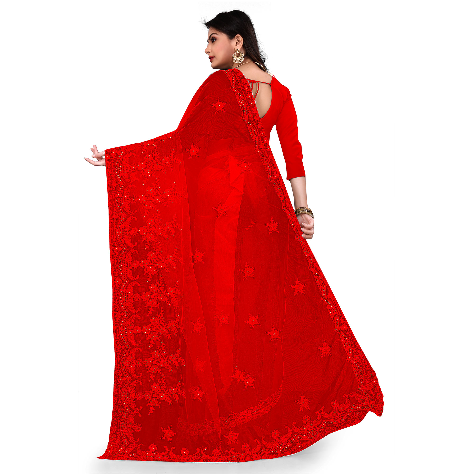 IRIS - Red Colored Partywear Embroidered & Stone Work Netted Saree