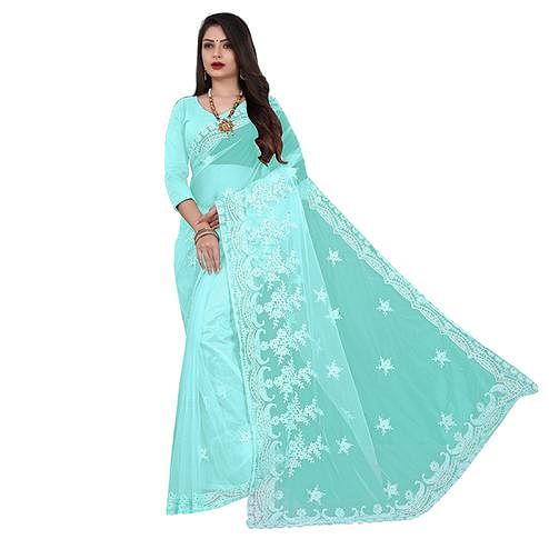 IRIS - Aqua Blue Colored Partywear Embroidered & Stone Work Netted Saree