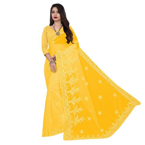 IRIS - Yellow Colored Partywear Embroidered & Stone Work Netted Saree