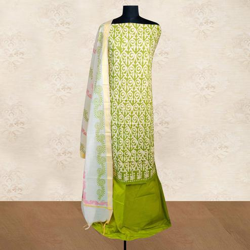 IRIS - Green Colored Casual Block Hand Wax Batik Printed Cotton Dress Material